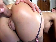 Hot-assed babe gives head and gets her butt stabbed with a fat meaty boner