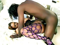 Naughty lady Sinnamon Love gets her ebony pussy and booty injected by a thick schlong