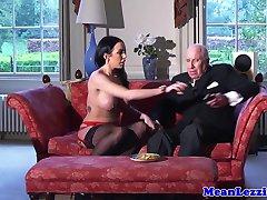 European latex lezdom dominates busty babe