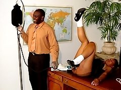 Black beauty with dripping wet cunt and well striped ass - spanking and enema