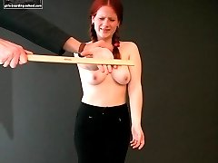 Burning red palm punishment for misbehaving bitch