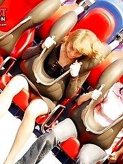 Cute upskirt girls in amusement park
