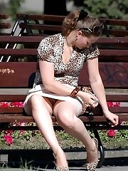 A girl in dress and panties in this outdoor upskirt gellery