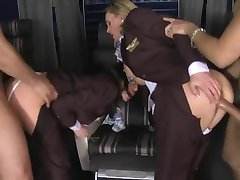 CFNM - clothed stewardess' fucked in first class
