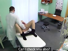 Sexy blonde patient getting fingered by her doctor