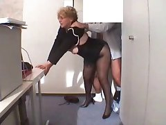 Office Granny Fucked  in stockings