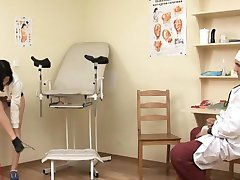 Teen cutie pie shyly pleasures her doctor in the clinic