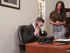 Secretary Elicia Solis straddles the boss on his desk
