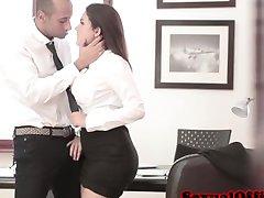 Cute italian secretary gets jizzed by boss