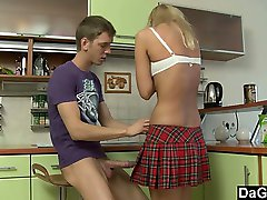 Blondie school girl tries anal sex for the first time