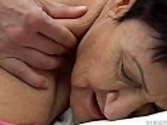 Cute plumper gagging over a huge cock