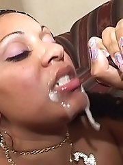 Horny ebony bbw screwed and splooged