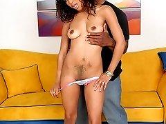 Hot sexy black chick sucks a huge black dick