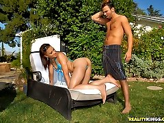 Super hot louni gets her round and brown bikini body fucked hard by the pool in these power...
