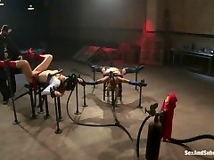 Watch two adorable, all natural brunettes get double teamed by two of our sexiest Electro-Lez...