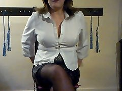 Submissive guy crawls on his knees after his mistress just to earn the right to please her with...