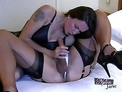 Naughty shemales Kate and friends show off their shafts and engage in an out anal threesome