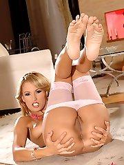 Regina Ice caressing her feet