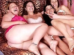 Four pussy loving women fucking each other
