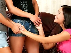 Three lesbians fuck with a dildo