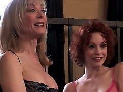 MILF Nina Hartley and redhead Justine Joli get slippery