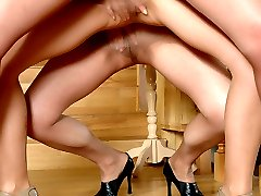 Hot gals in control top tights revealing their secret fantasies in lez orgy