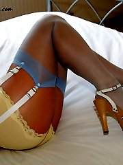My pale blue stockings and white panties
