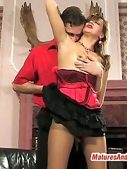 Aged chick getting mind-blowing sex without taking off her tan pantyhose