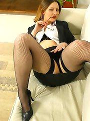 Jo May in specs as a sexy secretary