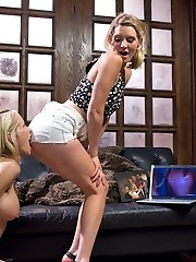 Mona Wales surfs the internet for some hot gangbang porn to jack off to. Low and behold she stubbles upon a filthy milfy gangbang starring her stepmom! Mona is taken a back at first but her stepmom, Simone Sonay, is so hot and slutty Mona can\'t help but rub her pussy while watching it right when her stepmom barges into the room! Mona is pissed that her stepmom ruined her orgasm and threatens to tell her father about Simone\'s extracurricular activities unless she licks her pussy and gets her off. The punishment continues with Mona spanking her step mother\'s ass red, fisting and double penetrating her making Simone squirt all over!