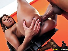 Super hot fucking fine ass ebony babe gets her amazing fucking ass body drilled hard after...