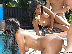 Triple chocolate fine booty babes get their hot pussies pounded hard in the pool in these...