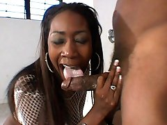 Black hottie in white having her pussy filled balls deep