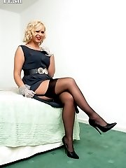 Blonde Anna in sheer dress, RHT nylons and black lingerie!
