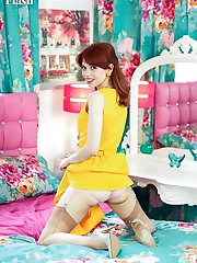 Poppy, vibrant in yellow dress, sheer sexy nylons and 5