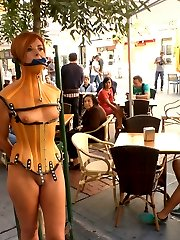 Beautiful Spanish model Bianca Resa is bound and led through the streets of Madrid to service...
