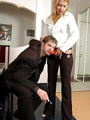 Blondie with huge strap-on plus her horny coworker result in his sore ass