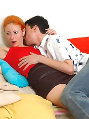 Redhead chick giving great massage of guy�s tight ass using her strap-on