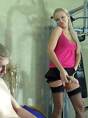 Sex-crazy blonde lures a guy into a kinky strapon workout with her huge toy