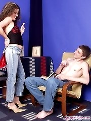 Strap-on armed chick cant miss the opportunity to thrust guys fuckhole