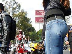 Black spandex jeans on slim teenie
