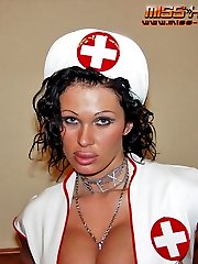 Russian mistress in nurse uniform trains slave