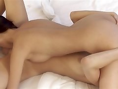 Nasty babes in tan control top pantyhose getting naughty petting each other