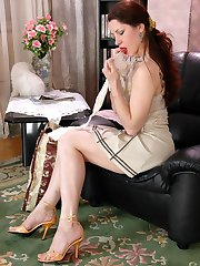 Helpful maid fitting her mistresss lacy stockings joining lesbo dildo fun