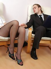 Hot secretary in black hose ready for dildotoying before suck-n-ride action