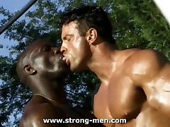 Interracial Muscle Outdoors