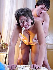 Aging chick groped and dicked by a youngster right in her control top hose
