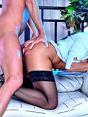 Strict looking mature gets butt pounded in her office attire by a handyman