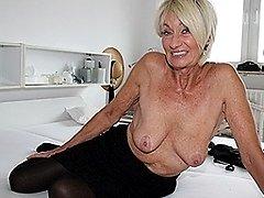 Sexy German grandma masturbating