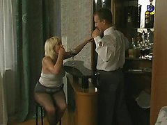 Sex-addicted mature babe seducing barman into breathtaking fucking on floor